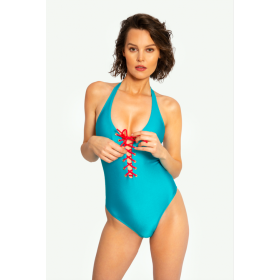 Swimsuit Nicole, turquoise/coral