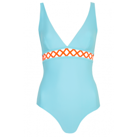 Swimsuit Ines, Blue/Orange