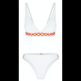 Ines Bikini, White/Coral
